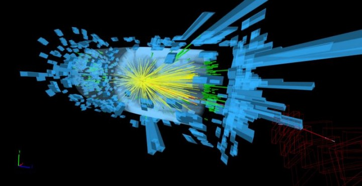 Protons collide at 13 teraelectronvolts in this event display from 3 June 2015, sending showers of particles through the CMS experiment (Image: CMS)