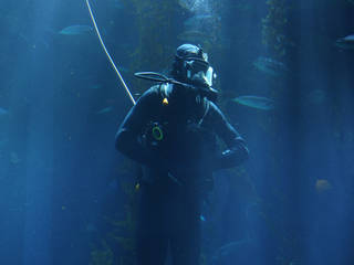 Andy Klesh, principal investigator for an under-ice rover at NASA's Jet Propulsion Laboratory, has been a volunteer diver at the California Science Center for two years. Credits: NASA/JPL-Caltech