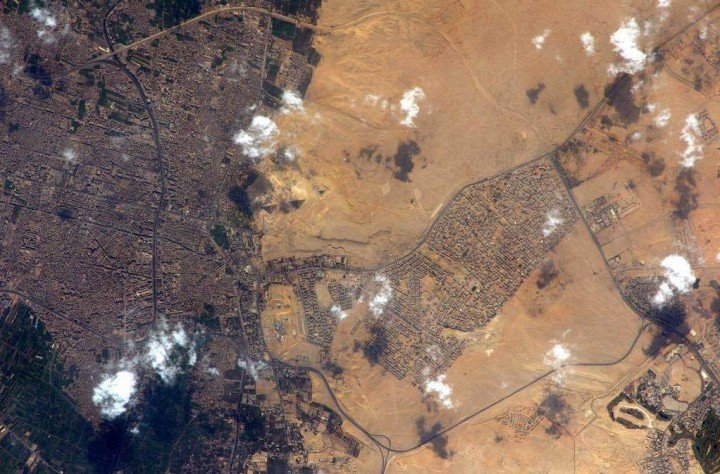 The Egyptian Pyramids of Giza from space and the ISS. Credit: ESA/Samantha Cristoforetti