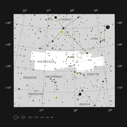 This chart shows the small constellation of Vulpecula (The Fox), and the location of the exploding star Nova Vul 1670 (red circle). Image credit: ESO/IAU/Sky & Telescope