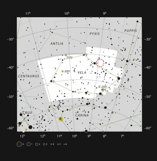 This chart shows the constellation of Vela (The Sails) in the southern skies. All stars visible to the naked eye on a clear dark night are shown and the position of the star-forming cloud RCW 34 is marked. The glow is hard to see in small telescopes although the brighter stars in this rich field can be easily spotted. Credit: ESO, IAU and Sky & Telescope