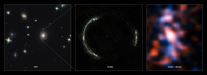 ALMA's Long Baseline Campaign has produced a spectacularly detailed image of a distant galaxy being gravitationally lensed, revealing star-forming regions — something that has never been seen before at this level of detail in a galaxy so remote. The new observations are far more detailed than any previously made of such a distant galaxy, including those made using the NASA/ESA Hubble Space Telescope, and reveal clumps of star formation in the galaxy equivalent to giant versions of the Orion Nebula. The left panel shows the foreground lensing galaxy (observed with Hubble), and the gravitationally lensed galaxy SDP.81, which forms an almost perfect Einstein Ring, is hardly visible.  The middle image shows the sharp ALMA image of the Einstein ring, with the foreground lensing galaxy being invisible to ALMA. The resulting reconstructed image of the distant galaxy (right) using sophisticated models of the magnifying gravitational lens, reveal fine structures within the ring that have never been seen before: Several dust clouds within the galaxy, which are thought to be giant cold molecular clouds, the birthplaces of stars and planets. Credit: ALMA (NRAO/ESO/NAOJ)/Y. Tamura (The University of Tokyo)/Mark Swinbank (Durham University)