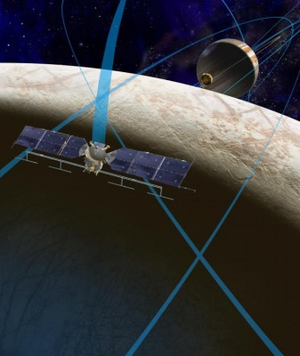 A rendering of the Europa mission in orbit. The long, thin tube running parallel to the solar panels is the radar antenna the instrument will be using. Image credit: NASA/JPL.