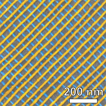 Scanning electron microscope image of a self-assembled platinum lattice, false-colored to show the two-layer structure. Each inner square of the nanoscale grid is just 34 nanometers on each side. Image source: BNL