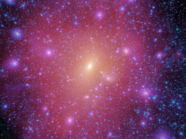 A team of astrophysicists is looking for dark matter in the form of subhalos. These clumps of dark matter within the Milky Way are predicted to produce a distinctive gamma-ray signal. Image courtesy of The Aquarius Project