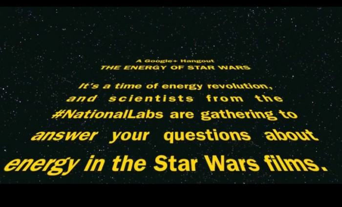 """This Friday, two Lawrence Livermore National Laboratory researchers will discuss the science behind """"Star Wars"""" films live online during a Google+ Hangout hosted by the Department of Energy."""