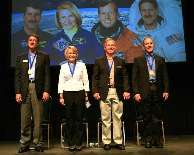 The 25th anniversary class of the U.S. Astronaut Hall of Fame are, from the left. Kent Rominger, Rhea Seddon, Steven Lindsey, and John Grunsfeld. Credits: NASA/Kim Shiflett