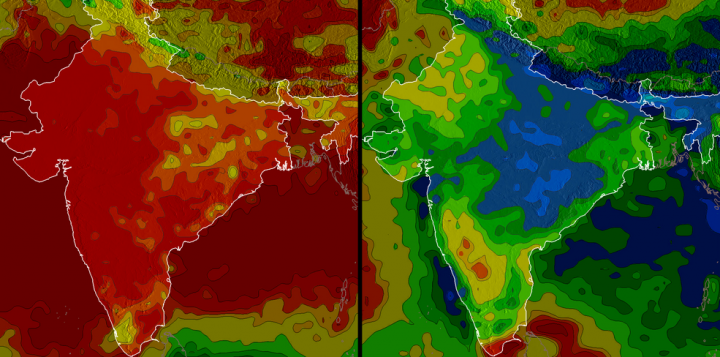 Precipitation in India varies significantly from season to season. The red in the image above indicates low rainfall, which is evident in the winter. Blue indicates high rainfall, which is abundant in the image of monsoon season. The left image shows December 2002 through March 2003, and the right image shows July 2003 through September 2003. Credits: NASA/Hal Pierce