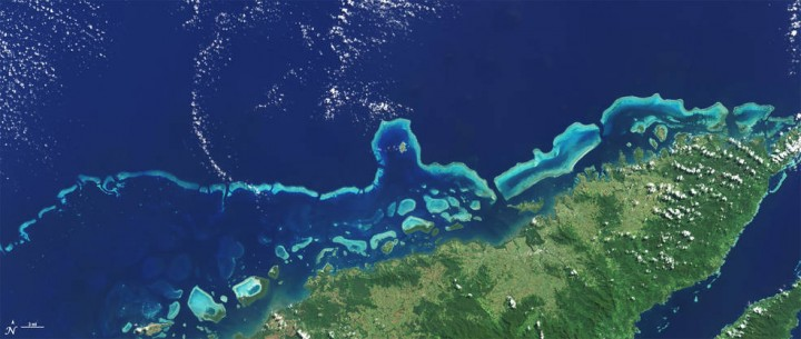The extensive coral reefs on the northern shore of Vanua Levu, Fiji's second largest island, can be seen on this natural color Landsat 8 image acquired on May 10, 2015. The sensors aboard Landsat 8 were designed to have higher sensitivity than the last-generation sensor aboard Landsat 7. This higher sensor sensitivity has had a positive impact on coral reef delineations, area measurements, and depth estimations. Credits: NASA/Landsat