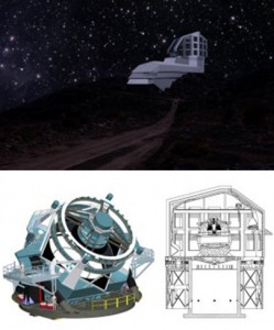 Top: A photograph/illustration of the planned Large Synoptic Survey Telescope's exterior building from the road leading up to the site at night. Below, left, a rendering of the telescope; at right, a drawing of its enclosure design. The telescope is scheduled to begin full operations in 2022. Image credit: LSST
