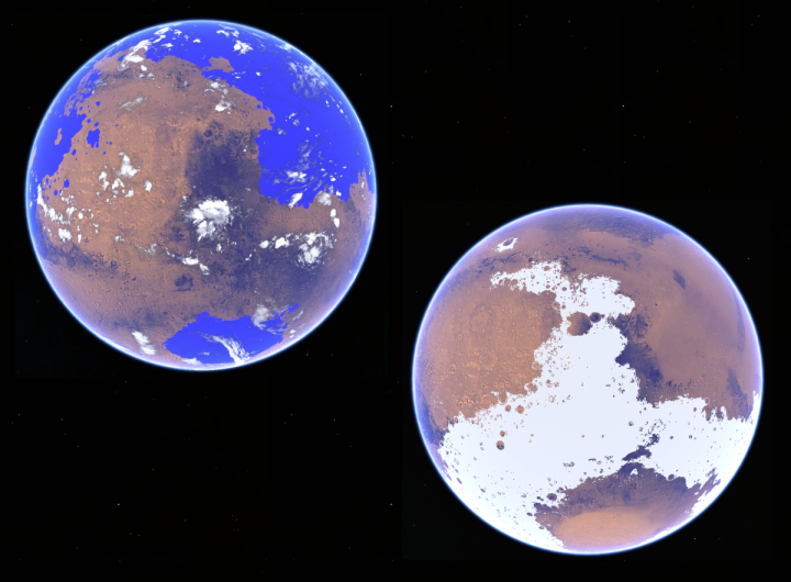 Conceptual rendition of the competing warm and cold scenarios for early Mars. Credit: Robin D. Wordsworth.