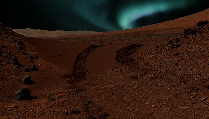 This is an artist interpretation of what aurorae may look like close to magnetic anomalies on Mars. Credits: NASA/JPL-Caltech/MSSS and CSW/DB