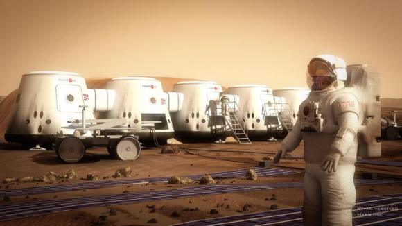 Artist's concept of a Martian astronaut standing outside the Mars One habitat. Credit: Bryan Versteeg/Mars One