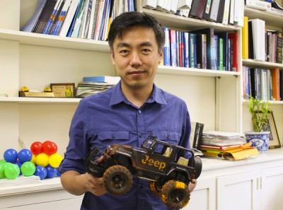 Xudong Wang has developed a new way to harvest energy from rolling tires. Courtesy of the College of Engineering.