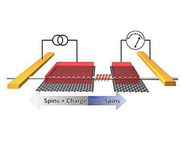 Schematic of the four terminal nanowire device in the non-local spin valve geometry. A spin-polarized charge current is injected at the left red NiFe/graphene ferromagnetic contact, generating a pure spin current that flows to the right within the silicon nanowire. This spin current generates a voltage that is detected on the right ferromagnetic contact. (Photo: U.S. Naval Research Laboratory)