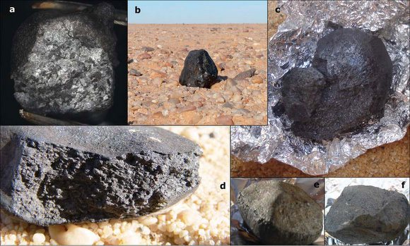 Various meteorites from 2008 TC3 asteroid that landed in the Sudan in 2008. Credit: P. Jenniskens, et. al.