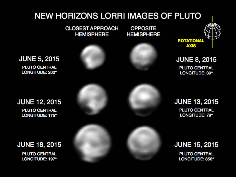 These images, taken by New Horizons' Long Range Reconnaissance Imager (LORRI), show numerous large-scale features on Pluto's surface. When various large, dark and bright regions appear near limbs, they give Pluto a distinct, but false, non-spherical appearance. Pluto is known to be almost perfectly spherical from previous data. These images are displayed at four times the native LORRI image size, and have been processed using a method called deconvolution, which sharpens the original images to enhance features on Pluto. Credits: NASA/Johns Hopkins University Applied Physics Laboratory/Southwest Research Institute