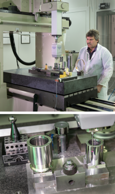 Top: PML Dimensional Metrology Group's John Stoup making measurements of the piston gauge using a coordinate measuring machine (CMM). Bottom: The piston (right) and its cylindrical sleeve (left) in a CMM at NIST. Notice the red ruby tip of the probe (right).