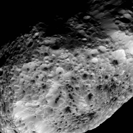 NASA's Cassini imaging scientists processed this view of Saturn's moon Hyperion, taken during a close flyby on May 31, 2015. Credits: NASA/JPL-Caltech/Space Science Institute