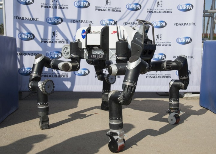 The spindly appearance of JPL's RoboSimian was somewhat unique among competitors in the DARPA Robotics Challenge Finals, as most were bipedal walkers. Credits: JPL-Caltech
