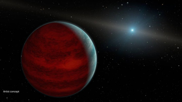 "This artist's concept shows a hypothetical ""rejuvenated"" planet -- a gas giant that has reclaimed its youthful infrared glow. NASA's Spitzer Space Telescope found tentative evidence for one such planet around a dead star, or white dwarf, called PG 0010+280 (depicted as white dot in illustration). Credits: NASA/JPL-Caltech"
