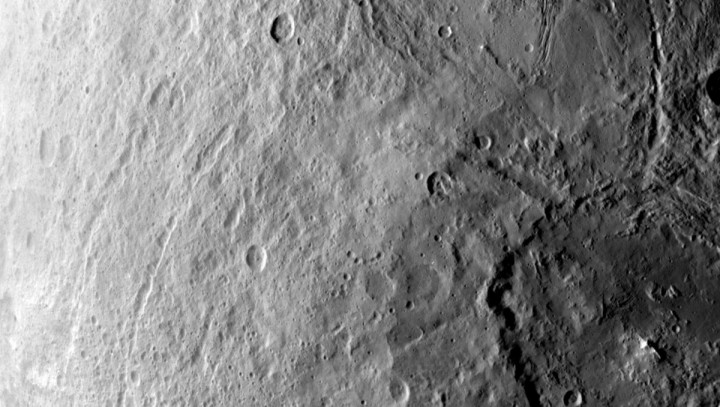 A large crater in the southern hemisphere of dwarf planet Ceres is seen in this image taken by NASA's Dawn spacecraft on June 6, 2015. Credits: NASA/JPL-Caltech/UCLA/MPS/DLR/IDA