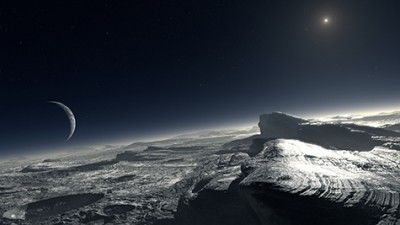 Artist's impression of the surface of Pluto covered by patches of methane ice. At the distance of Pluto, the Sun appears about 1000 times fainter than on Earth. Image credit: European Southern Observatory