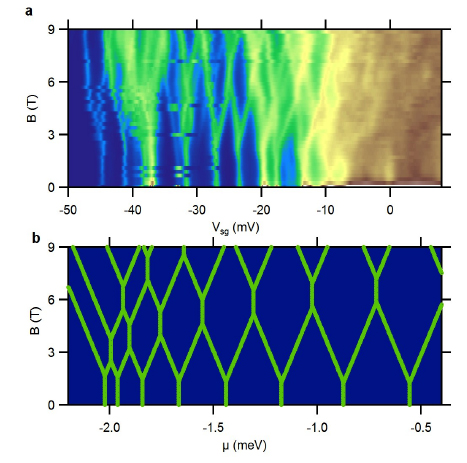 These images show differential conductance through the quantum dot as a function of the gate voltage that controls the number of electrons in the dot (x-axis) and the applied magnetic field (y-axis). Blue regions have low differential conductance and a constant number of electrons; green, yellow, and brown show higher differential conductance, indicating a change in the number of electrons in the dot. The top panel shows the measured differential conductance; the bottom panel shows the theoretical calculation (which has no disorder). Both experiment and theory show splitting of the electron pairs with increasing field and reentrant pairing at higher fields (the merging of pairs of boundaries into vertical boundaries). (Photo: U.S. Naval Research Laboratory)