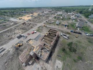 Wood and his students used a camera-equipped drone to capture this image of the Pilger Middle School shortly after it was struck by a tornado in June 2014. The image looks southwest toward other parts of Pilger. Image credit: Richard Wood/UNL Civil Engineering