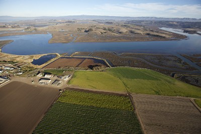 An aerial view shows farm lands directly adjacent to Elkhorn Slough. (Photo by Keith Ellenbogen)