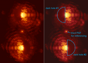 Double image of the star Eta Crucis taken through the vector-APP coronagraph installed at MagAO. The two main images of the star exhibit D-shaped dark holes on complementary sides. In this way, the whole region around the star can be scrutinized for planets. Image credit: Leiden University/UA