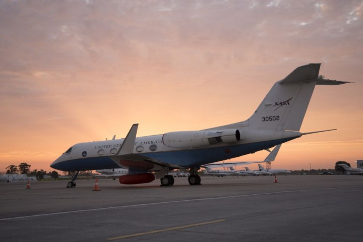 The sun rises on NASA's C-20A as it sits at Louis Armstrong New Orleans International Airport before its first science flight. Credits: NASA