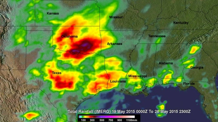 This image shows IMERG rainfall estimates for the week-long period 19 to 26 May 2015 for the south central US. Credits: Images produced by Hal Pierce (SSAI/NASA GSFC)