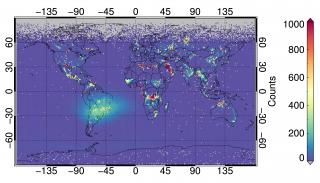 This image shows regions of frequent biomass burning and gas flaring as detected by a new satellite sensor that monitors temperatures on Earth. The sensor's technology was the topic of a recent journal cover article authored by University of Nebraska-Lincoln graduate student Thomas Polivka; his adviser, Jun Wang, an associate professor of earth and atmospheric sciences; and two others. Polivka found a flaw that may prevent the system from providing reliable temperature readings from such hot spots.