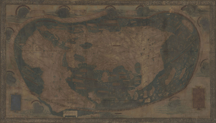 This map of the world drawn by Henricus Martellus in about 1491 was donated to Yale in 1962. Its faded condition (shown above) has stymied researchers for decades. The multispectral image of the map (below) reveals text and details invisible to the naked eye.