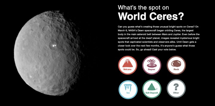 Can you guess what's creating those unusual bright spots on Ceres? Image credit: NASA