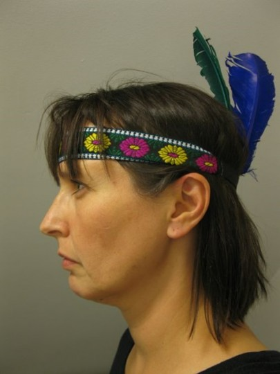 """Tanya Harnett took her self-portrait """"An Oxford Indian"""" after a chance encounter with an Oxford partygoer wearing a feathered headband."""