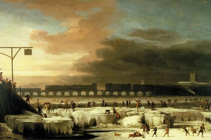 "In this 1677 painting by Abraham Hondius, ""The Frozen Thames, looking Eastwards towards Old London Bridge,"" people are shown enjoying themselves on the ice. Image credit: Museum of London"