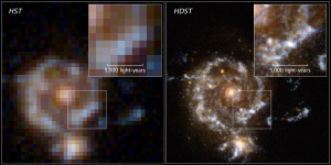 A simulation of the greater image resolution of the High-Definition Space Telescope (right) compared to the Hubble Space Telescope (left). Image credit: D. Ceverino, C. Moody, G. Snyder and Z. Levay.