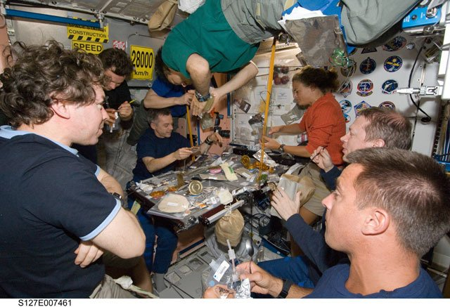 Astronauts share a lunch on the ISS. Credit: NASA