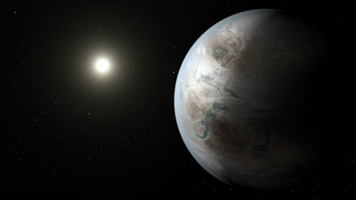This artist's concept depicts one possible appearance of the planet Kepler-452b, the first near-Earth-size world to be found in the habitable zone of star that is similar to our sun. Image credit: NASA Ames/JPL-Caltec
