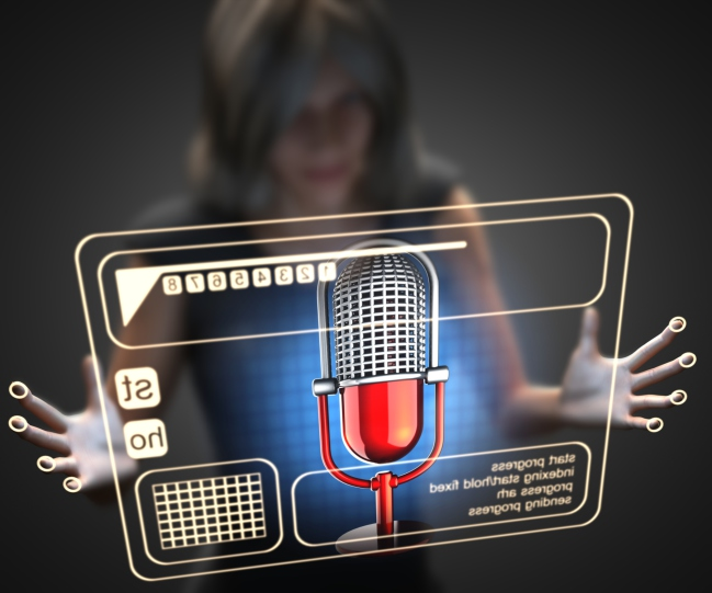 woman and hologram with microphone