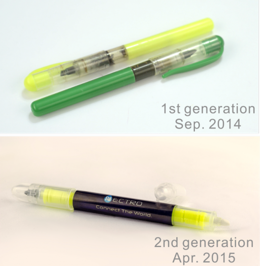 The first and second generation of Nectro conductive ink pen.