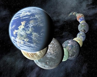 Artist's concept for the range of Earth-like extrasolar planets that have been discovered in recent years. Credit: NASA/JPL
