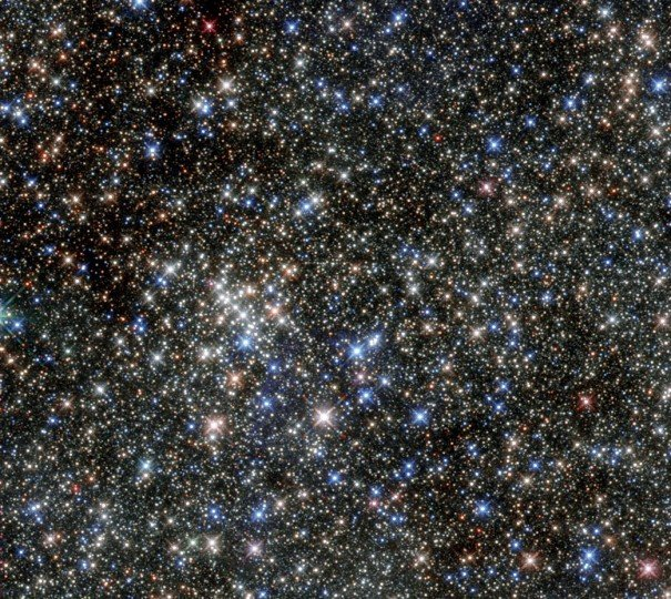 Although this cluster of stars gained its name due to its five brightest stars, it is home to hundreds more. The huge number of massive young stars in the cluster is clearly captured in this NASA/ESA Hubble Space Telescope image. The cluster is located close to the Arches Cluster and is just 100 light-years from the centre of our galaxy. The cluster's proximity to the dust at the centre of the galaxy means that much of its visible light is blocked, which helped to keep the cluster unknown until its discovery in 1990, when it was revealed by observations in the infrared. Infrared images of the cluster, like the one shown here, allow us to see through the obscuring dust to the hot stars in the cluster. The Quintuplet Cluster hosts two extremely rare luminous blue variable stars: the Pistol Star and the lesser known V4650 Sgr. If you were to draw a line horizontally through the centre of this image from left to right, you could see the Pistol Star hovering just above the line about one third of the way along it. The Pistol Star is one of the most luminous known stars in the Milky Way and takes its name from the shape of the Pistol Nebula that it illuminates, but which is not visible in this infrared image. The exact age and future of the Pistol Star are uncertain, but it is expected to end in a supernova or even a hypernova in one to three million years. The cluster also contains a number of red supergiants. These stars are among the largest in the galaxy and are burning their fuel at an incredible speed, meaning they will have a very short lifetime. Their presence suggests an average cluster age of nearly four million years. At the moment these stars are on the verge of exploding as supernovae. During their spectacular deaths they will release vast amounts of energy which, in turn, will heat the material — dust and gas — between the other stars. This observation shows the Quintuplet Cluster in the infrared and demonstrates the leap in Hubble's performance sinc