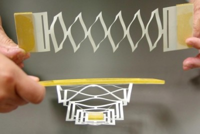 Joe Wilensky/Cornell Chronicle Graphene, like the paper models, is strong but flexible, and can be stretched or pulled with forces comparable to those exerted by motor proteins.