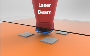 """Laser micro-transfer printing constructs micro- and nanocircuits from conventionally fabricated microstructures without contact between these fragile assemblies. In this illustration of the heart of the process, the laser (red) detaches the nano """"ink"""" (grey) from the stamp (blue) onto the receiving surface (orange). Lasers allow a wider variety of delicate nanostructures to be used in the creation of nanocircuits. Image credit: Jorge E. Correa and Placid M. Ferreira, mechanical science and engineering, University of Illinois at Urbana-Champaign"""