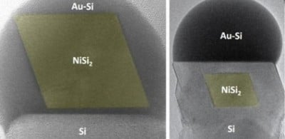 Images recorded in the electron microscope showing the formation of a nickel silicide (NiSi2) nanoparticle (colored yellow) in a silicon nanowire Credit: Stephan Hofmann - See more at: https://www.cam.ac.uk/research/news/new-technique-to-synthesise-nanostructured-nanowires#sthash.TvcPk0gH.dpuf