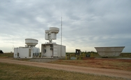 Radar at the Southern Great Plains field measurement site, which takes climate data for research. Photo courtesy of the U.S. Department of Energy ARM Climate Research