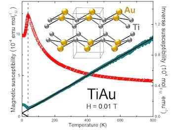 Measurements show that a crystalline form of titanium and gold – TiAu – becomes magnetic (red peak) at a cold 36 kelvins, about minus 395 degrees Fahrenheit. Click the image for a larger version. Image credit: Eteri Svanidze